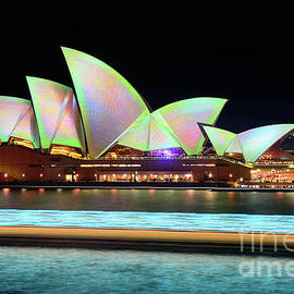 Aqua Light Trails before Pastel Opera House by Kaye Menner