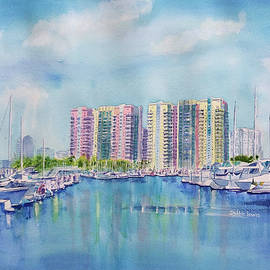 Aqua Towers And The Marina In Long Beach by Debbie Lewis