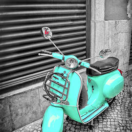 Aqua Vespa Scooter Lisbon Portugal in Black and White by Carol Japp