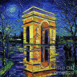 Mona Edulesco - ARC DE TRIOMPHE PARIS MIRRORING modern impressionist impasto cityscape oil painting