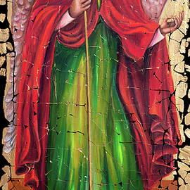 Archangel Gabriel Fresco With A Crackled Finish by OLena Art - Lena Owens