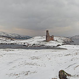 Ardvreck Castle In Winter - Panorama by Maria Gaellman