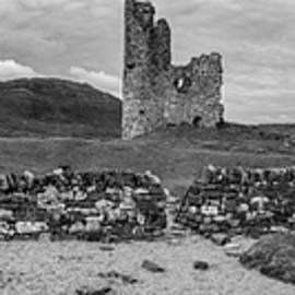Ardvrek Castle Panorama 0842 Bw by Teresa Wilson