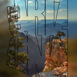 Arizona Typography Blur - Sun Setting On Grand Canyon by Gregory Ballos