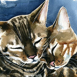 Arrow and Nala Bengal Cat Painting by Dora Hathazi Mendes