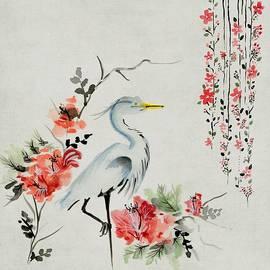 Asian Crane Floral Bird Art by Joy of Life Art Gallery