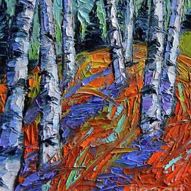 Mona Edulesco - ASPEN FOREST ETUDE modern impressionist palette knife oil painting