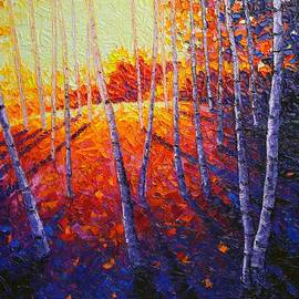 Aspen Forest Glade At Sunrise Modern Impressionist Palette Knife Oil Painting By Ana Maria Edulescu
