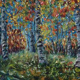 Aspen Grove Palette Knife Painting by OLena Art - Lena Owens