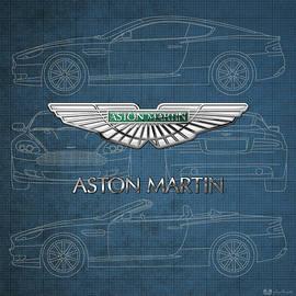 Aston Martin 3 D Badge over Aston Martin D B 9 Blueprint
