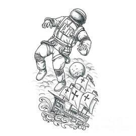 Aloysius Patrimonio - Astronaut Tethered to Caravel Tattoo