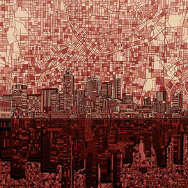 atlanta skyline abstract deep red - Bekim Art
