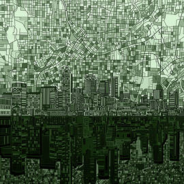 atlanta skyline abstract hunter green - Bekim Art