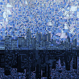 atlanta skyline abstract navy blue - Bekim Art