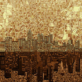 atlanta skyline abstract orange - Bekim Art