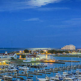 Atlantic City Marina Full Moon by David Zanzinger