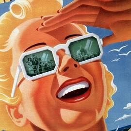 Studio Grafiikka - Atlantic City - Pennsylvania Railroad - Girl with Sunglasses - Retro travel Poster - Vintage Poster