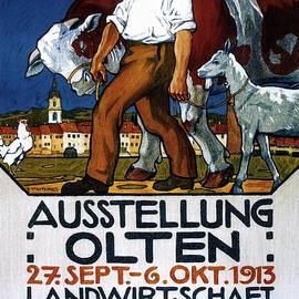 Ausstellung Olten - 1913 - Man With Cattle and Goat - Retro travel Poster - Vintage Poster - Studio Grafiikka