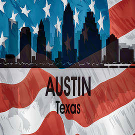 Austin Tx American Flag Vertical by Angelina Tamez