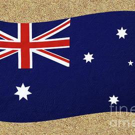 Australian Flag on Sand by Kaye Menner