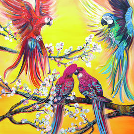 Australian spring - Rosella parrots by Nino Ponditerra