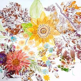 Ellen Levinson - Autumn Abstract Sunflowers and Leaves