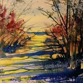 David K Myers - Autumn Beach Path, Watercolor