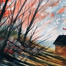 David K Myers - Autumn Beach Shack, Watercolor