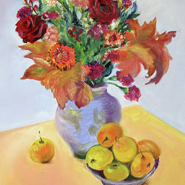 Autumn Bouquet with Apples by Asha Carolyn Young