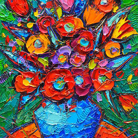 Autumn Colorful Flowers Modern Impressionist Palette Knife Oil Painting By Ana Maria Edulescu        by Ana Maria Edulescu