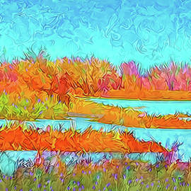 Joel Bruce Wallach - Autumn Grassy Meadow With Floating Lakes