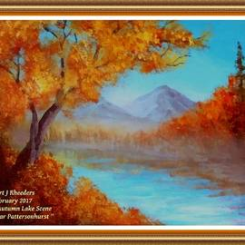 Gert J Rheeders - Autumn Lake Scene Near Pattersonhurst L A With Decorative Ornate Printed Frame.