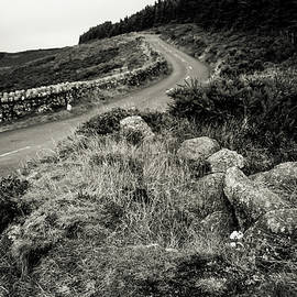 Autumn Road in Wicklow Hills. Black and White