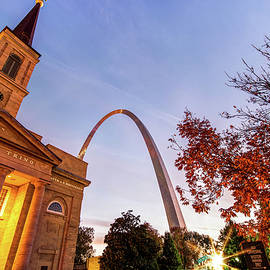Gregory Ballos - Autumn Sunrise - Downtown Saint Louis Gateway Arch and Old Cathedral