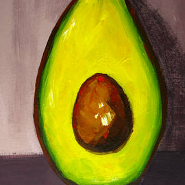 Avocado Modern Art, Kitchen Decor, Grey Background by Patricia Awapara