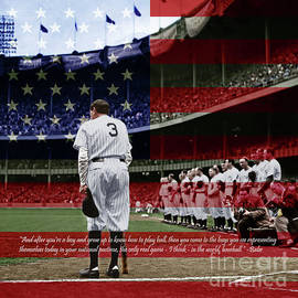 Babe Ruth Baseball Americas Pastime 20170625 Square With Quote Colorized by Wingsdomain Art and Photography