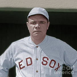 Wingsdomain Art and Photography - Babe Ruth Boston Red Sox Colorized 20170622 square