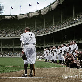 Wingsdomain Art and Photography - Babe Ruth The Sultan of Swat Retires at Yankee Stadium Colorized 20170622