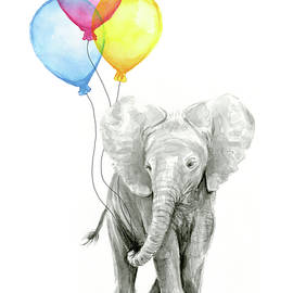 Baby Elephant with Baloons by Olga Shvartsur