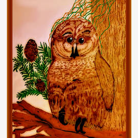 Debra Lynch - Baby Owl Acrylic Painting
