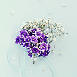 Baby's Breath and Violets Bouquet by Stephanie Frey
