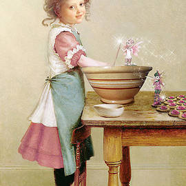 Baking Cookies - Vintage Children - Cookie Fairies by Tricia CastlesNcrowns