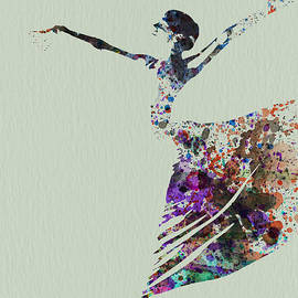 Ballerina dancing watercolor by Naxart Studio