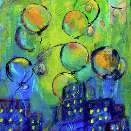 Cheerful Balloons Over City by Haleh Mahbod