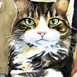 Bandu - Long Haired Calico Cat Painting by Dora Hathazi Mendes