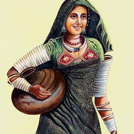 A K Mundra - Banjaran India Tribal Woman Miniature Painting India Watercolor Artwork.