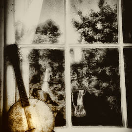 Banjo Mandolin in the Window in Black and White by Bill Cannon