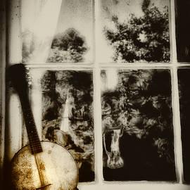 Bill Cannon - Banjo Mandolin in the Window in Black and White
