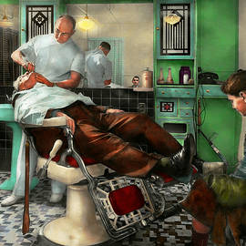 Barber - Shave - Pennepacker's barber shop 1942 by Mike Savad