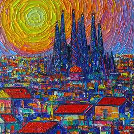 Ana Maria Edulescu - BARCELONA COLORFUL SUNSET OVER SAGRADA FAMILIA abstract city knife oil painting Ana Maria Edulescu